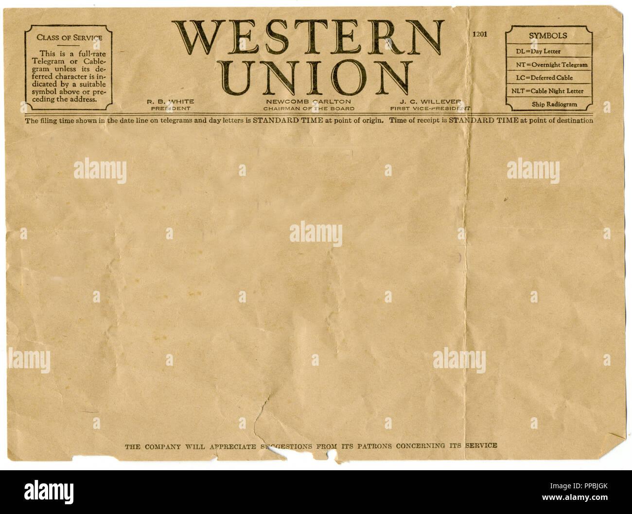 Western Union Telegram Stock Photos & Western Union Telegram