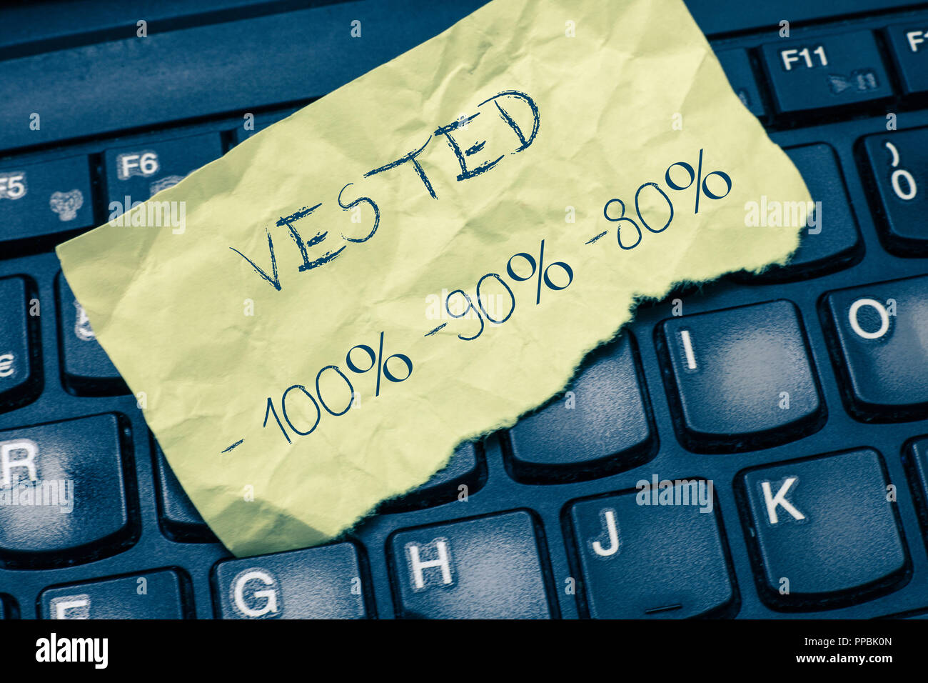 Text sign showing Vested 100 90 80. Conceptual photo Eligible for Retirement Benefit based on years of Service. - Stock Image