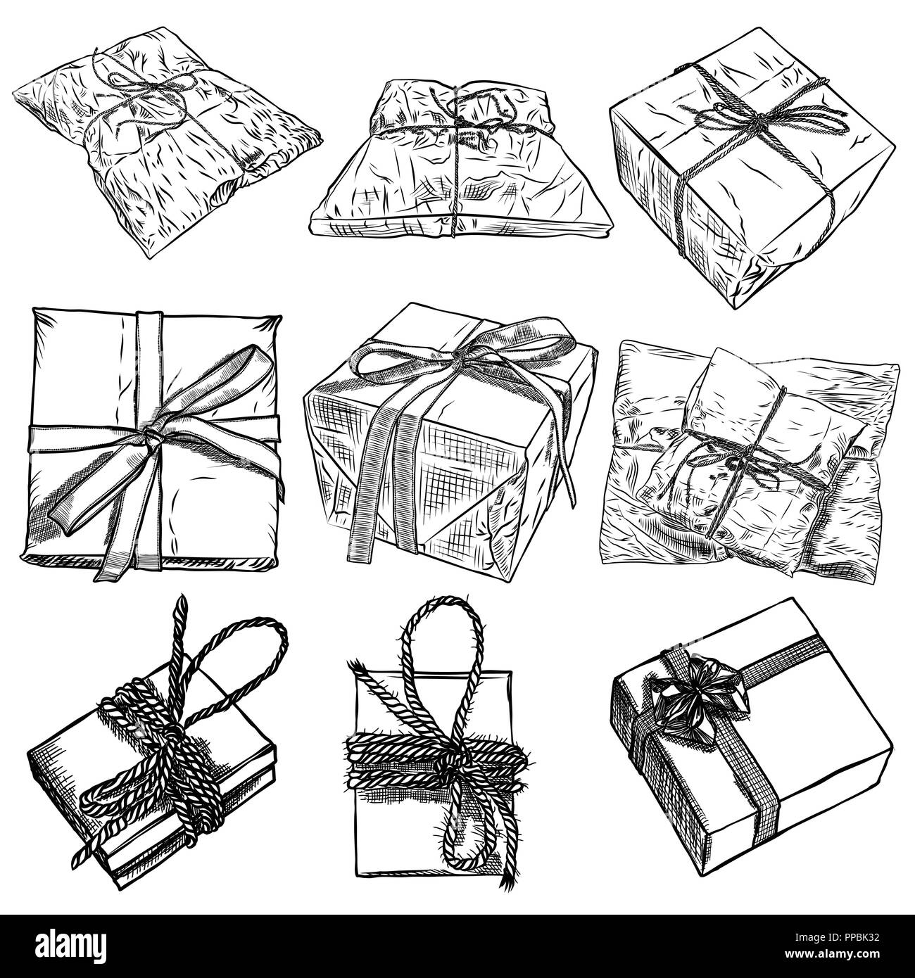 Set of pencil sketch of present box with a bow and ribbon gift boxes with string and bow hand drawn realistic concept top view close up drawing iso