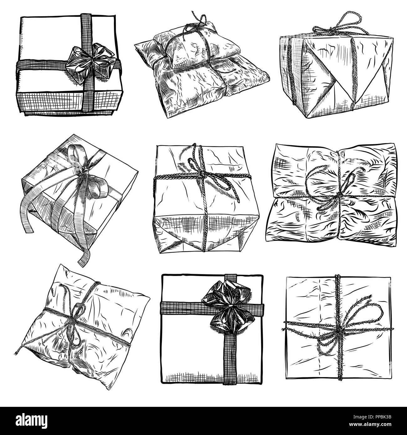 Set of gift box with ribbon string and bow hand drawn realistic illustration top view close up and side drawing of wrapping collection material va