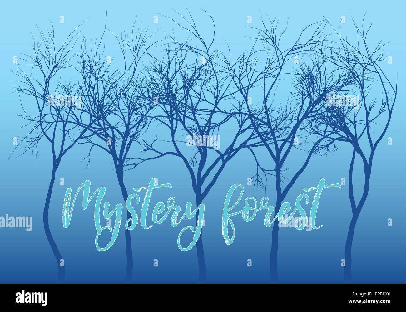 Mystery forest with dark trees and blue night sky, vector background illustration - Stock Image