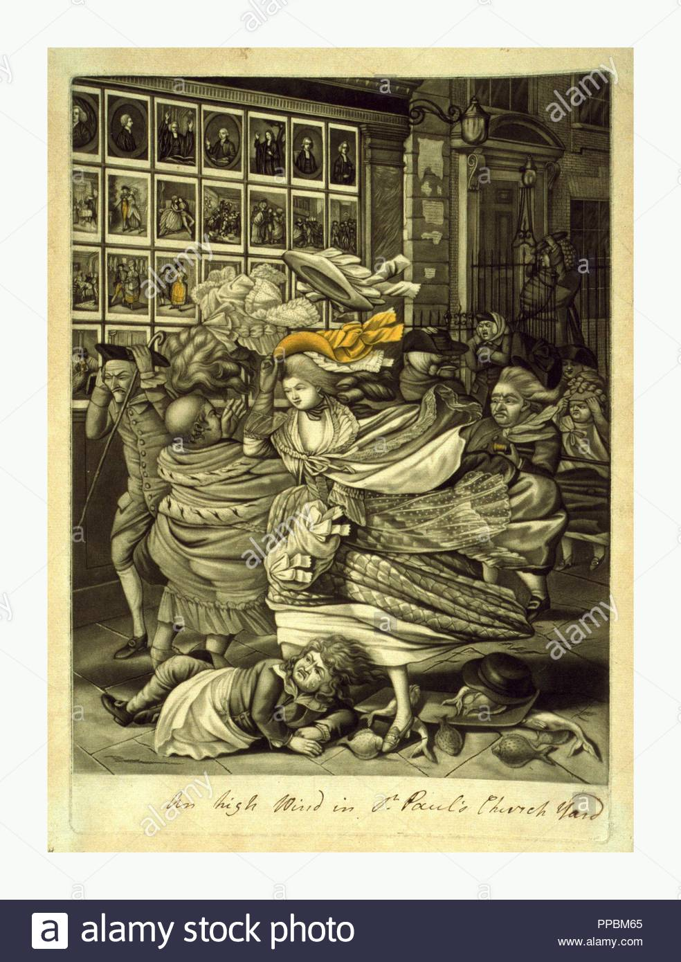 An high wind in St. Paul's Church yard, , artist, [1783], mezzotint, hand-colored, a street scene outside a print shop on a windy day as pedestrians struggle against the force of the wind. - Stock Image