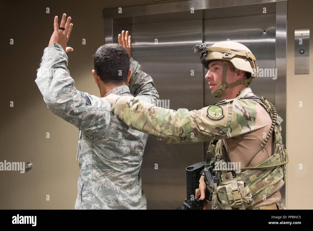 2nd Security Forces participate in an active shooter drill
