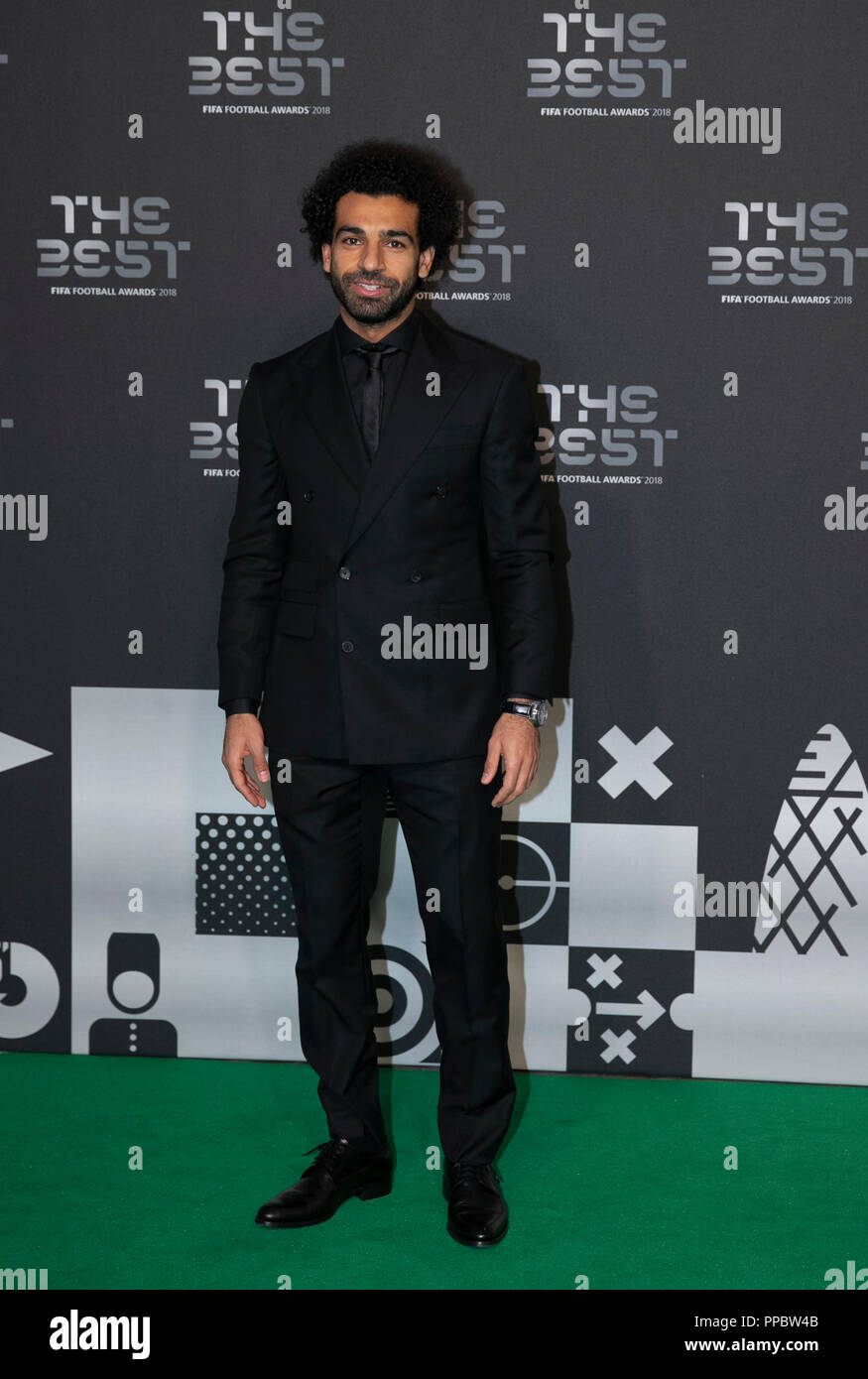 London, UK. 24th Sep, 2018. Mohamed Salah of Liverpool arrives on the Green Carpet ahead of the Best FIFA Football Awards 2018 in London, Britain on Sept. 24, 2018. Credit: Han Yan/Xinhua/Alamy Live News Stock Photo