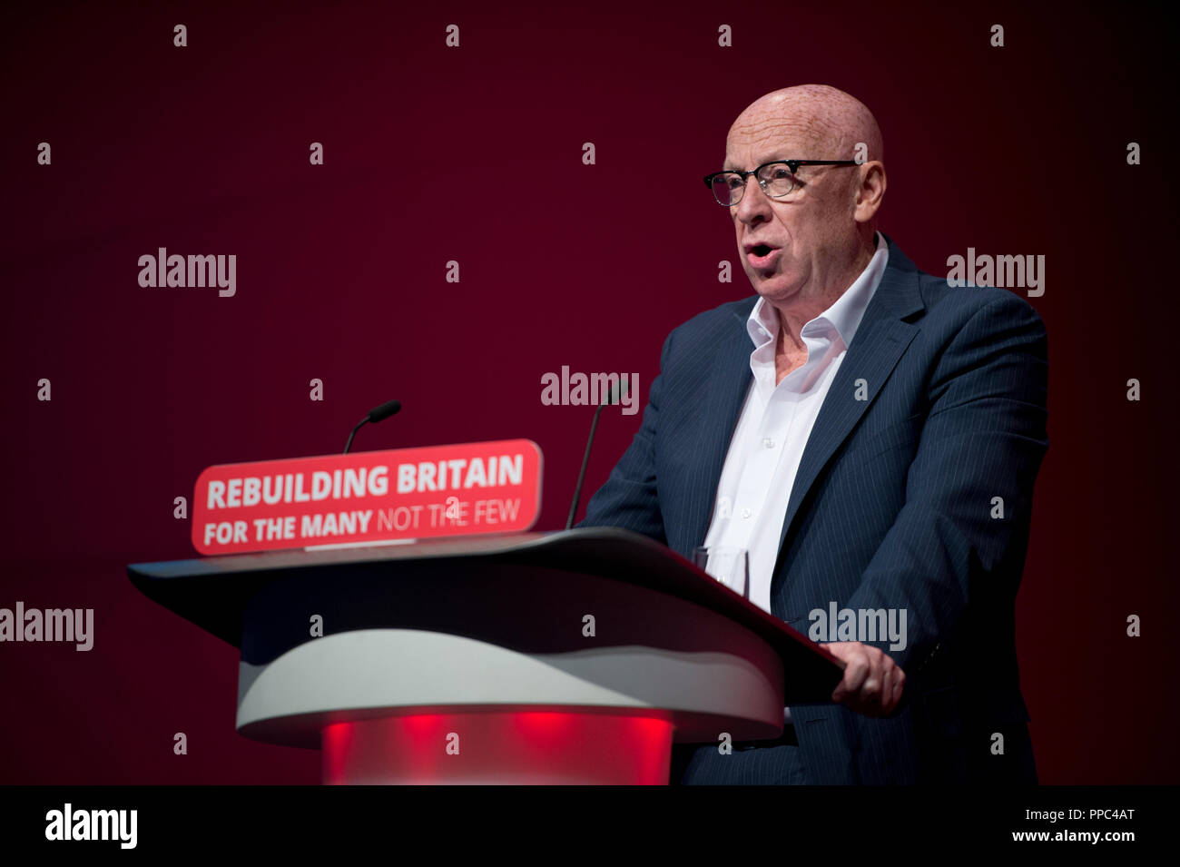 Liverpool, UK. 25th September 2018. Jim Kennedy of the Labour National Executive Committee (NEC) speaks at the Labour Party Conference in Liverpool. © Russell Hart/Alamy Live News. - Stock Image