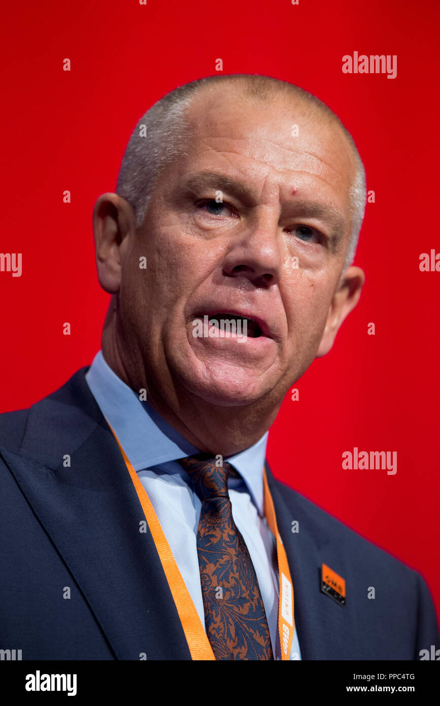 Liverpool, UK. 25th September 2018. Tim Roache, General Secretary of the GMB Union, speaks at the Labour Party Conference in Liverpool. © Russell Hart/Alamy Live News. - Stock Image