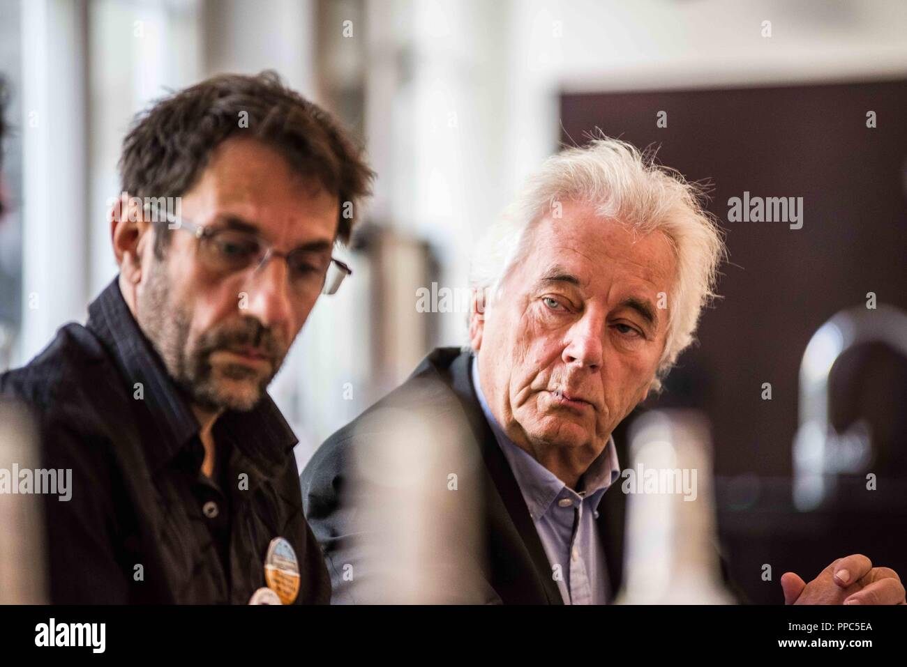 Munich, Bavaria, Germany. 25th Sep, 2018. Thomas Lechner and Hartmut Waechtler. Citing the increasing politics of fear and attacks on civil and human rights, some 55 civil groups, organizations, and political parties have organized a follow up to the successful Munich NoPAG demonstration against the PAG Police Assignment Laws. The groups state that the increasingly exclusionary and populistic politics of the CSU and the AfD, along with the Polizeiaufgabengesetze (PAG Police Assignment Laws) are turning citizens into objects, which is a prerequisite for authoritarianism. In attendance w - Stock Image