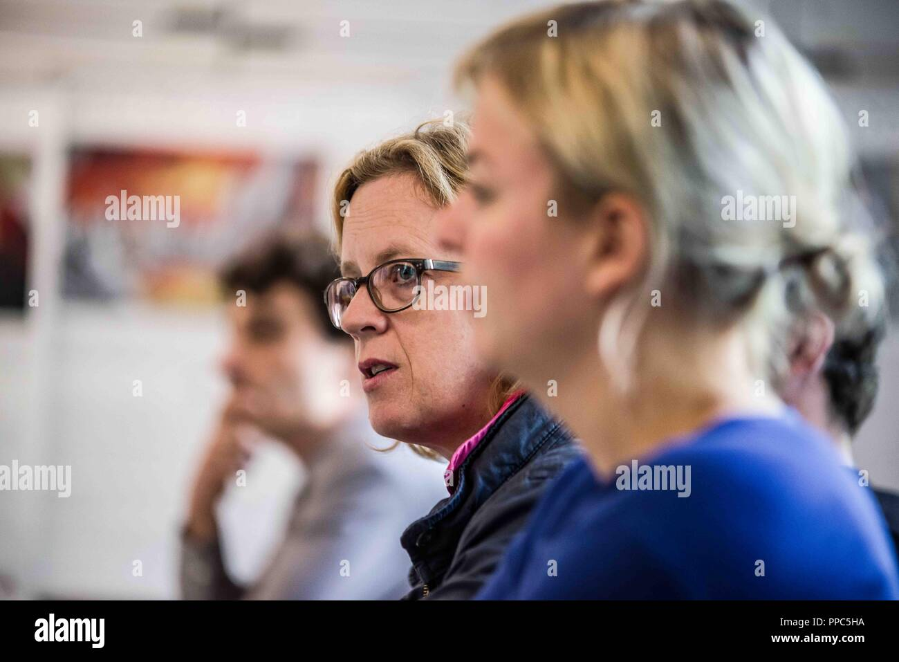 Munich, Bavaria, Germany. 25th Sep, 2018. NATASCHA KOHNEN of the SPD, who also revealed she has a migration background, thus personally involved with the themes people of color and other foreigners face in Germany. KATHARINA SCHULZE in blue. Citing the increasing politics of fear and attacks on civil and human rights, some 55 civil groups, organizations, and political parties have organized a follow up to the successful Munich NoPAG demonstration against the PAG Police Assignment Laws. The groups state that the increasingly exclusionary and populistic politics of the CSU and the AfD, al - Stock Image