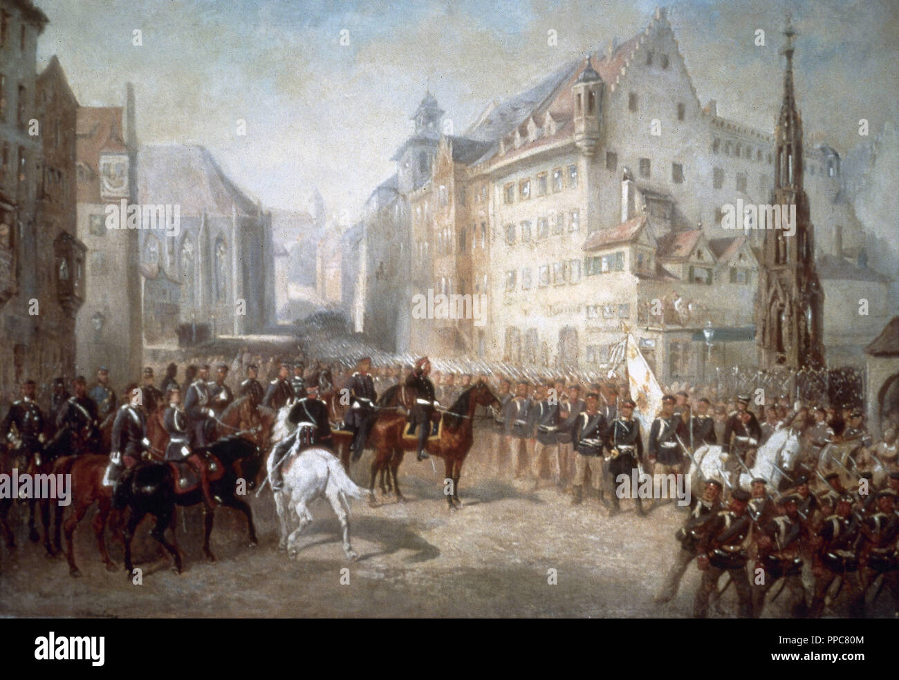 Austro-Prussian War. Parade of troops in the Market Square in Nuremberg during the occupation of the city by the Prussians in 1866. Painting by Louis Braun (1836-1916). - Stock Image