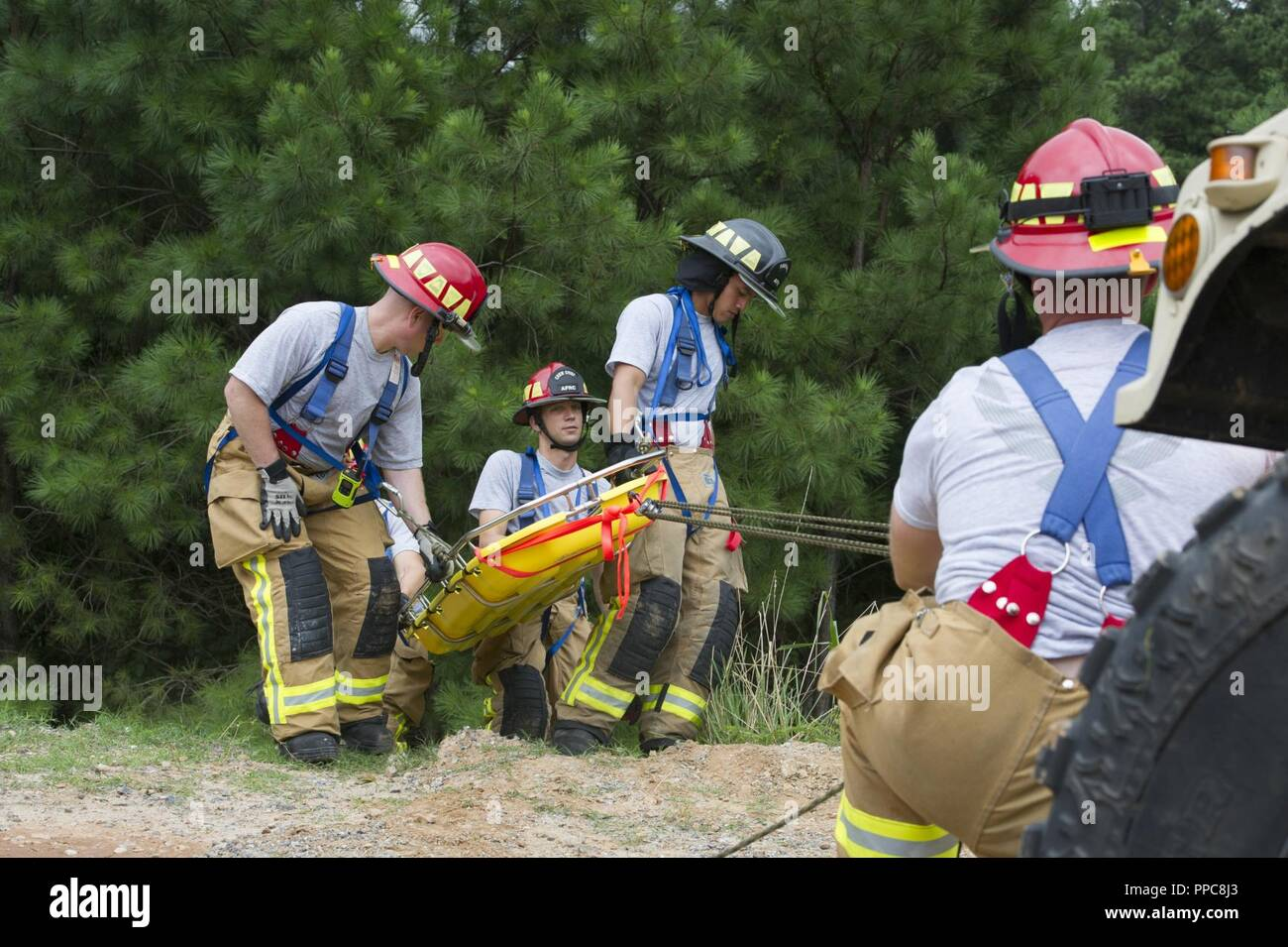 U S  Air Force firefighters with the 446th Civil Engineer