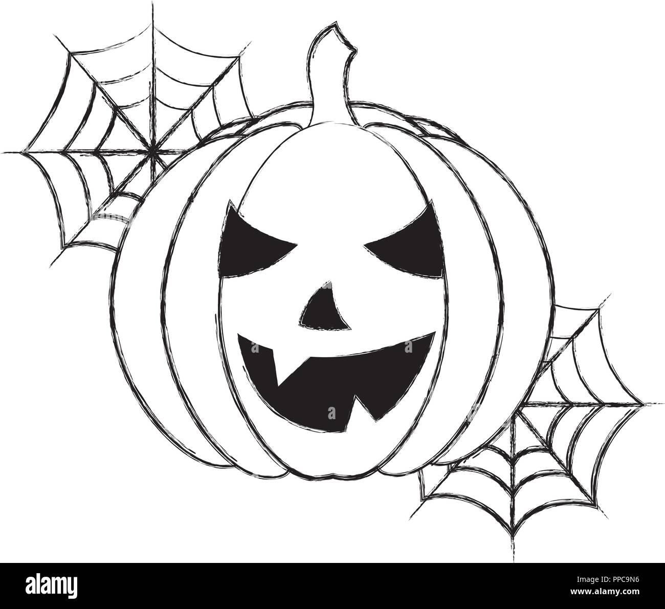 Halloween Pumpkin Drawing.Halloween Pumpkin With Cobweb Cartoon Vector Illustration