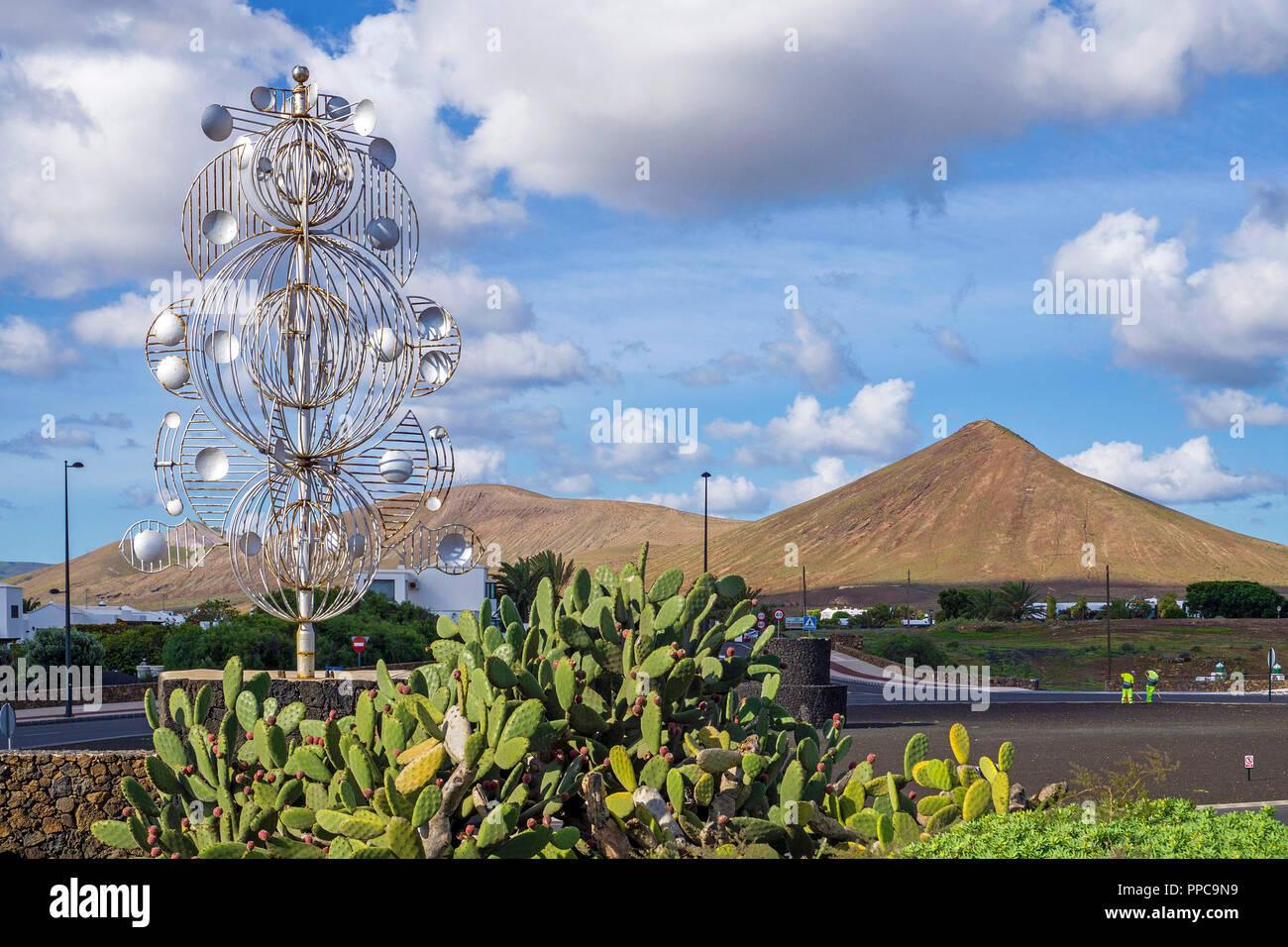 Silver wind chime by Cesar Manrique at Tahiche, Lanzarote, Canary Islands, Spain - Stock Image