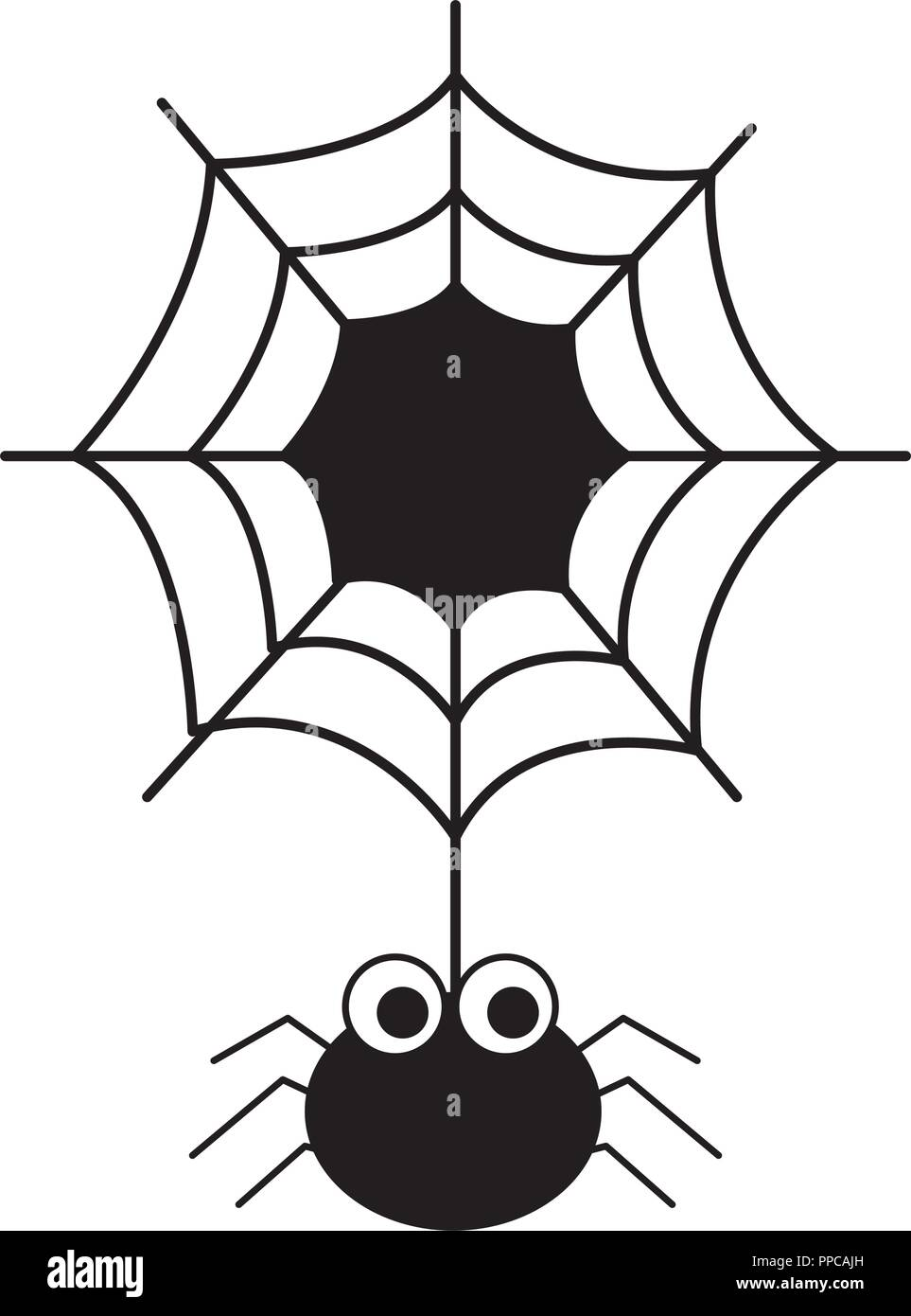 halloween spider with spiderweb isolated icon vector illustration