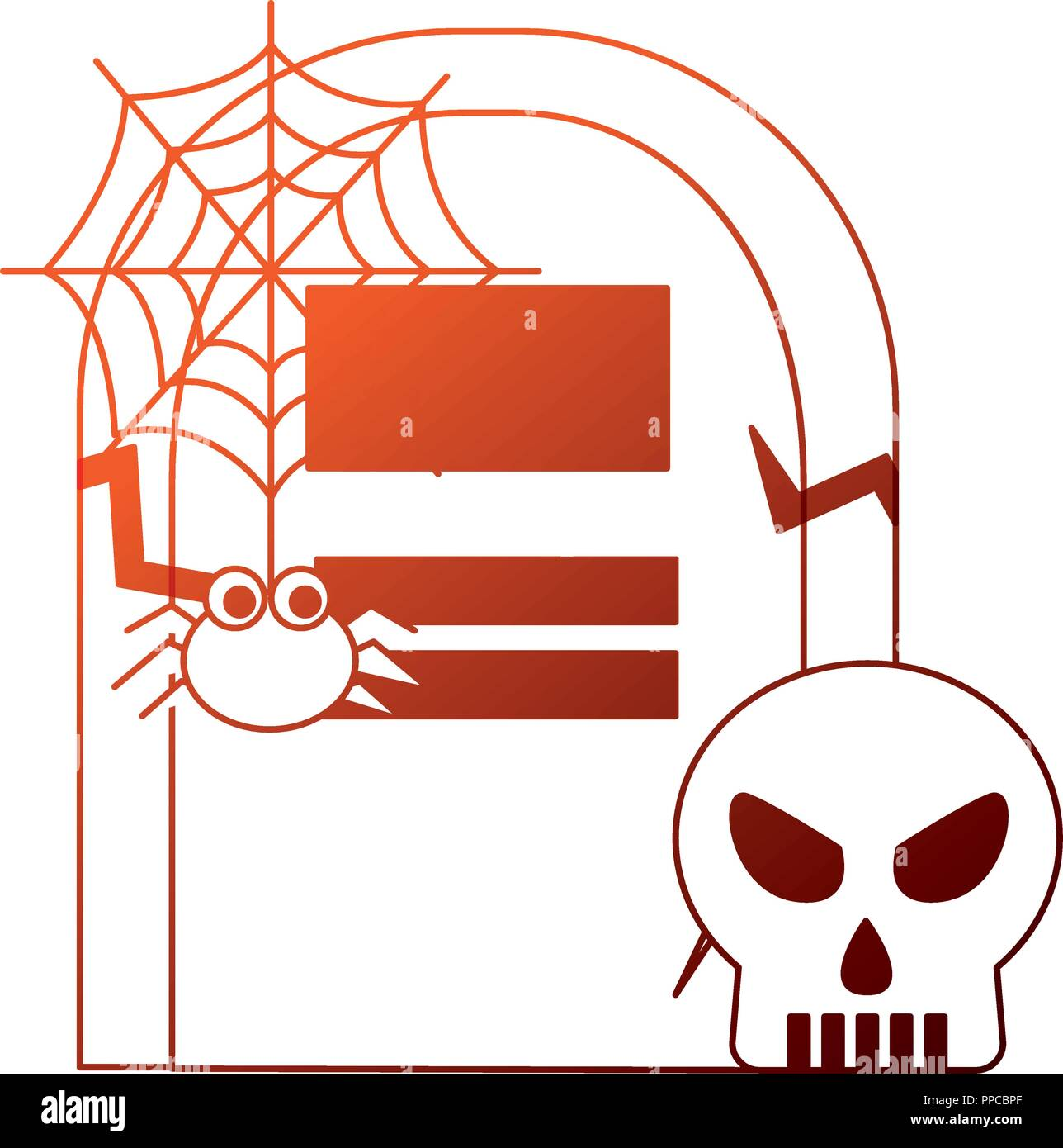 halloween tomb with skull and spider - Stock Vector