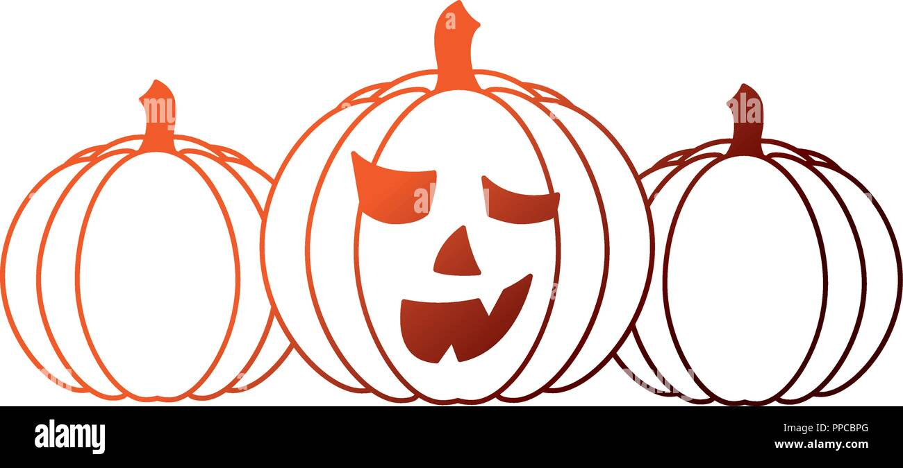 set of halloween pumpkins isolated icon - Stock Vector