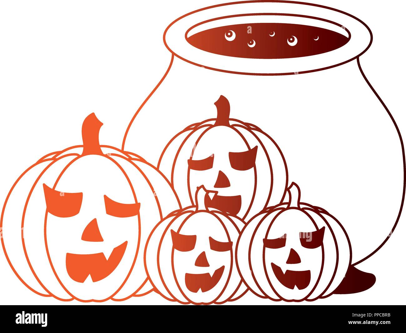 halloween cauldron and pumpkins isolated icon - Stock Vector