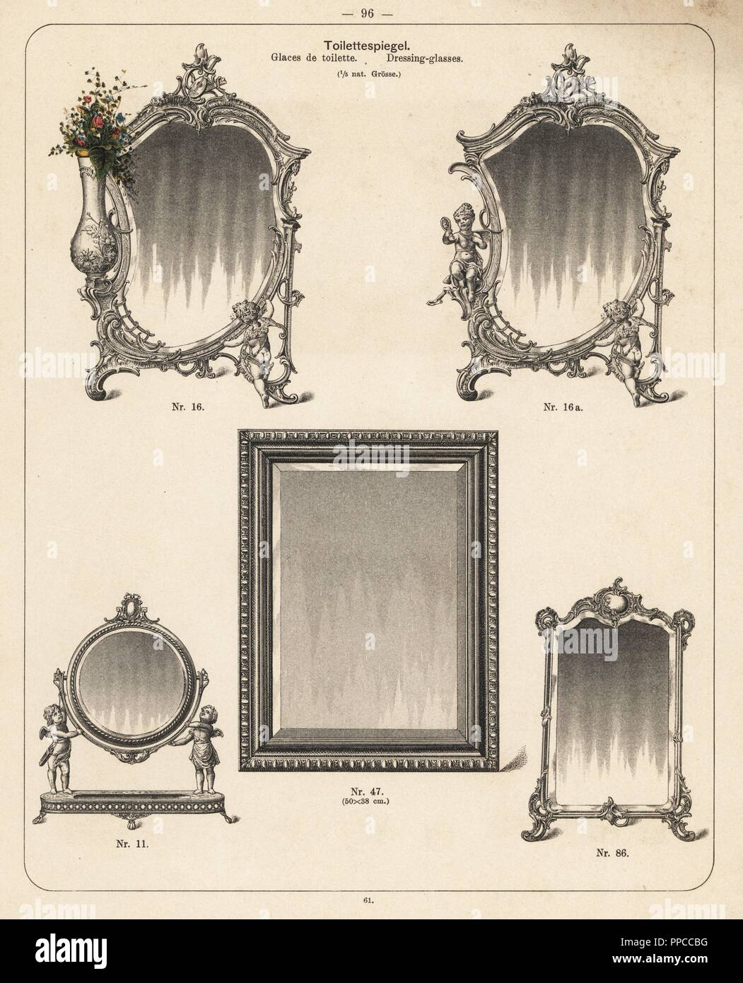 Decorative Mirrors Lithograph From A Catalog Of Metal