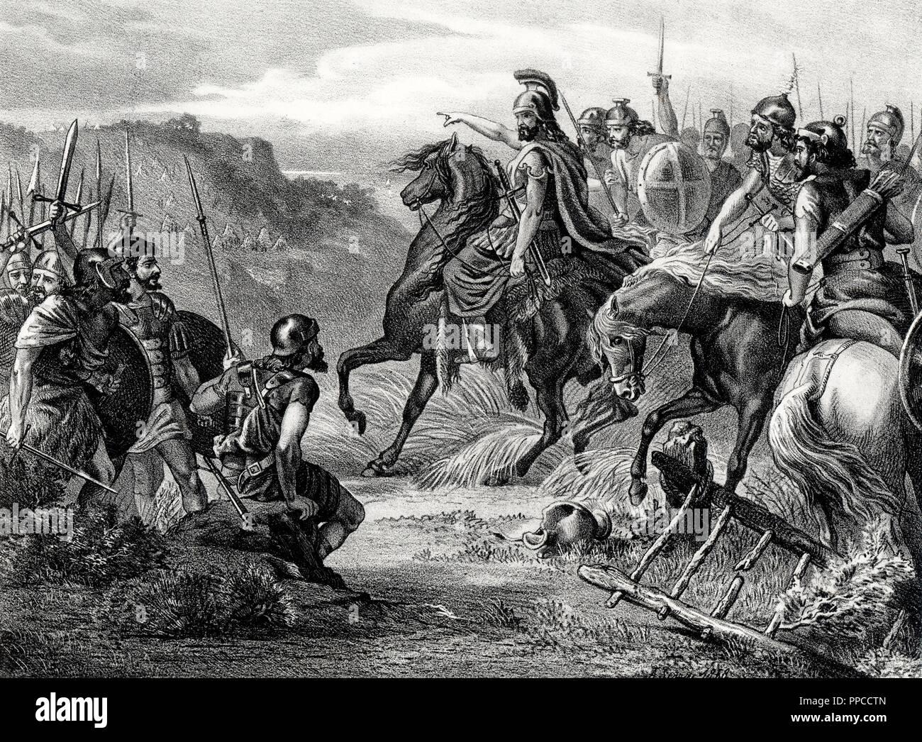 Historia. Levantamiento de Viriato (?-139 a. C.), pastor lusitano, contra los romanos en el año 142 a. C. Grabado de 1871. - Stock Image