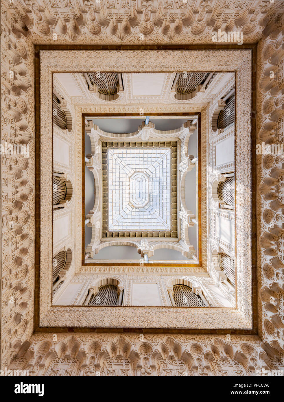Ceiling in the courtyard with a glass roof, Alcázar of Seville, Royal Palace, Palace Real Alcazar, Andalusia, Spain - Stock Image