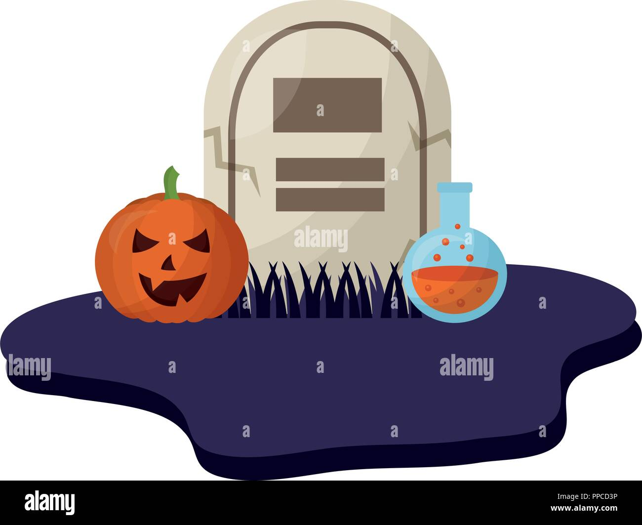 halloween tomb with pumpkin and poison isolated icon - Stock Vector