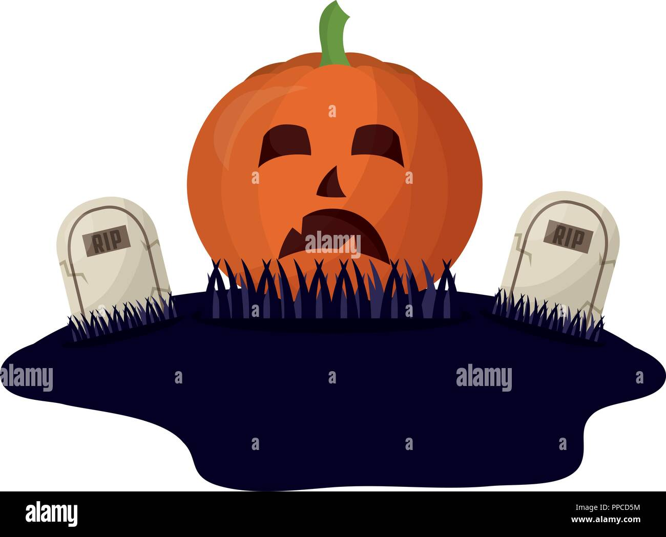 halloween pumpkin and tombs isolated icon - Stock Vector