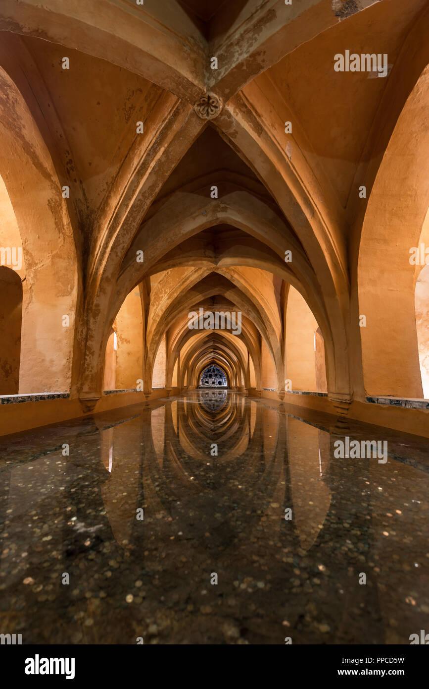 Bath in the vaulted cellar, Banos de Dona Maria de Padilla, Royal Residence, Real Alcazar Palace, Reales Alcazares, Seville Stock Photo