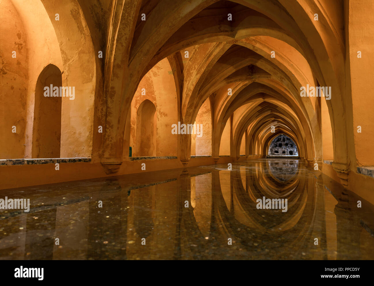 Bath in the vaulted cellar, Banos de Dona Maria de Padilla, Royal Residence, Real Alcazar Palace, Reales Alcazares, Seville Stock Photo