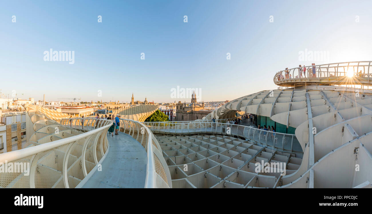 View over Seville, La Giralda and Iglesia del Salvador, Modern architecture, Metropol Parasol, Curved wooden structure - Stock Image