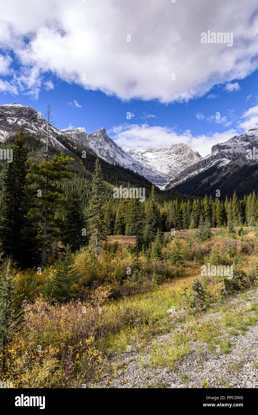 Kananaskis Country as seen from the Smith-Dorrien Spray Lakes Trail  (Highway 742) near Canmore Alberta Stock Photo