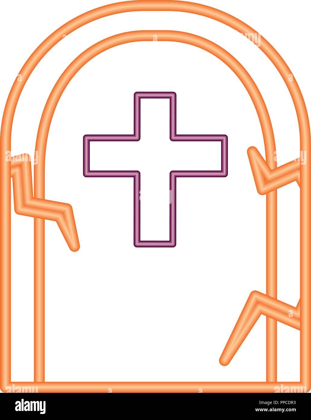 halloween tomb isolated icon - Stock Vector