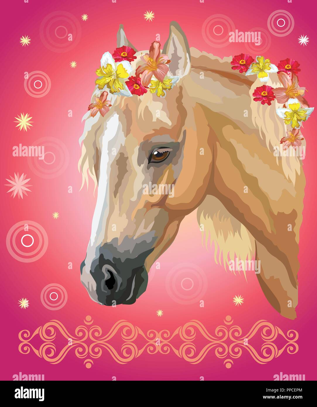 Vector Colorful Illustration Portrait Of Palomino Horse With Different Flowers In Mane Isolated On Pink Gradient Background With Decorative Ornament Stock Vector Image Art Alamy