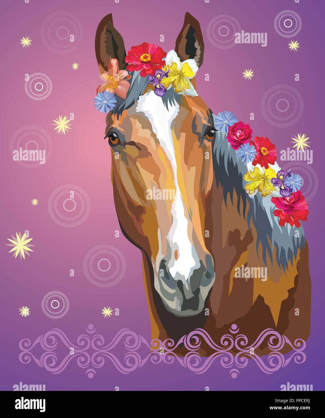Vector colorful illustration. Portrait of bay horse with different flowers in mane isolated on purple gradient background with decorative ornament and - Stock Vector