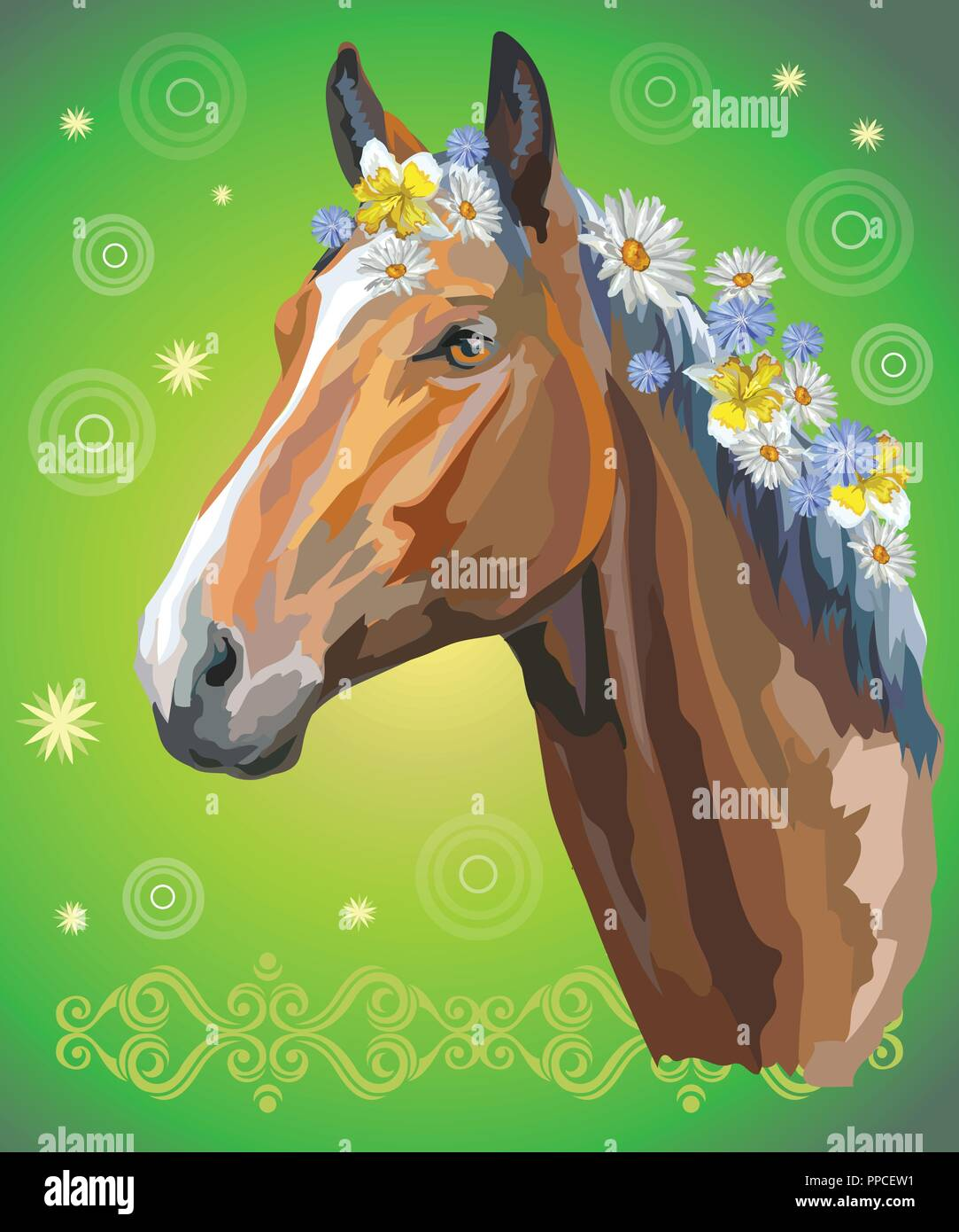 Vector colorful illustration. Portrait of bay horse with different flowers in mane isolated on green gradient background with decorative ornament and  - Stock Vector