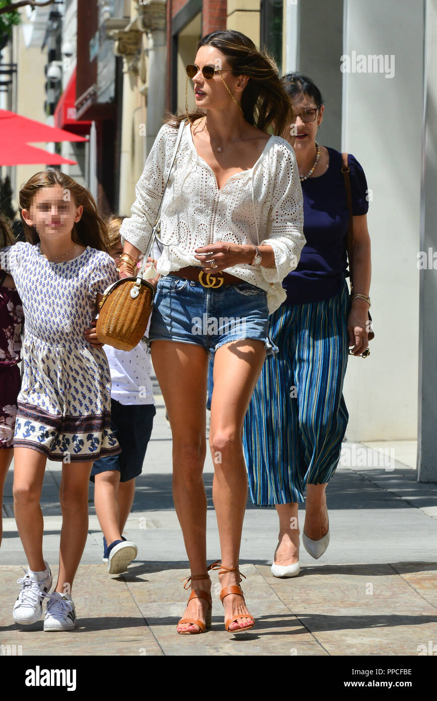 a961144732c Alessandra Ambrosio goes out with her family to celebrate daughter Anja s  10th birthday in Beverly Hills at seafood restaurant Avra Featuring   Alessandra ...
