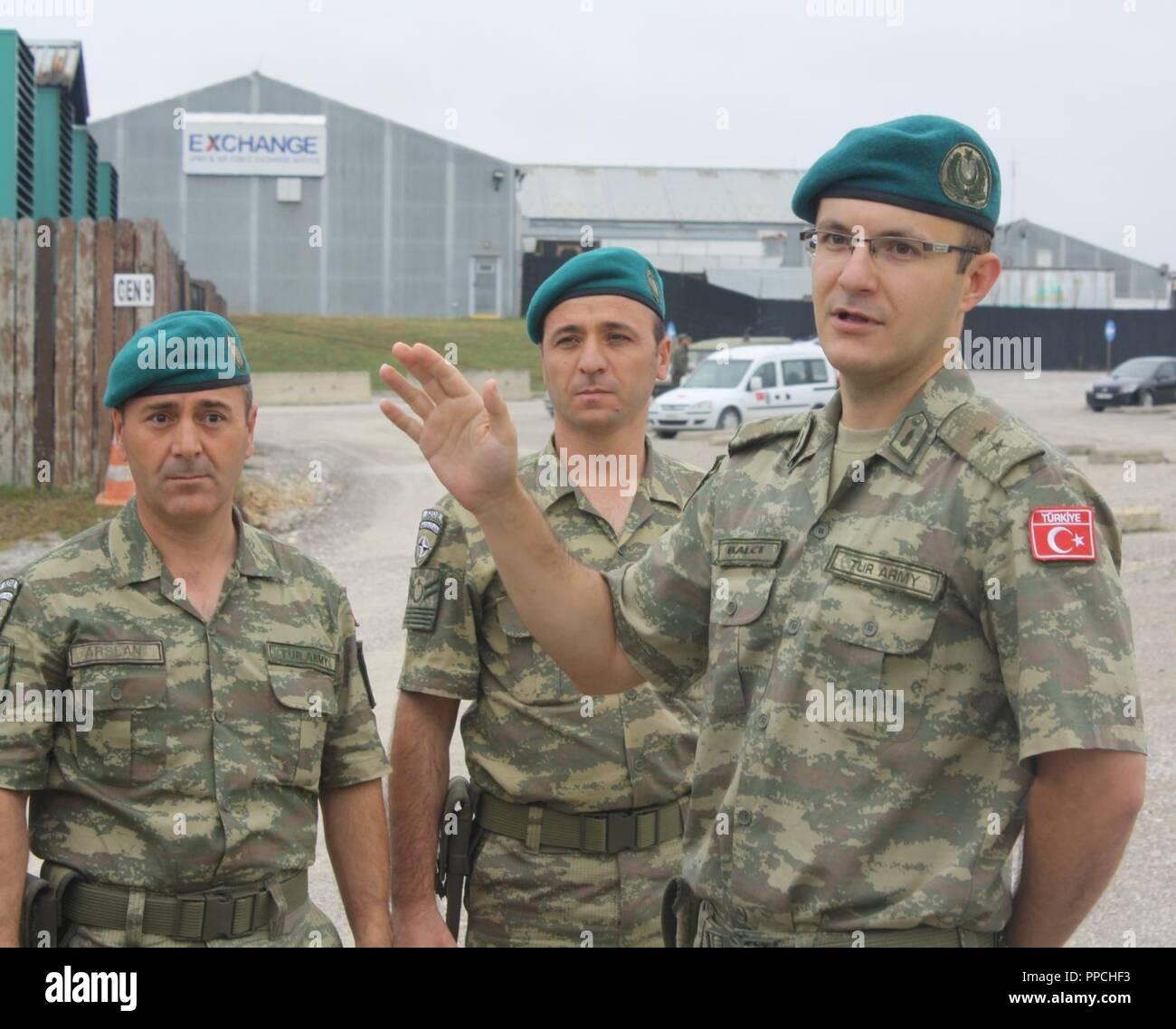 Lt  Mehmet Balci talks to the troops from KFOR Multi