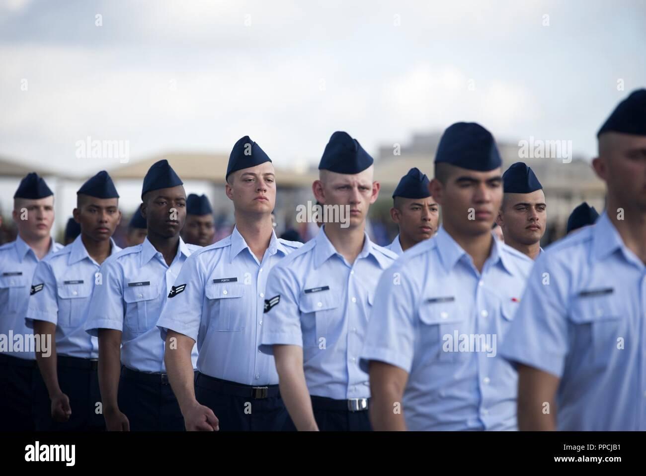 Air Force Graduation >> U S Air Force Airmen March During Their Basic Military Training