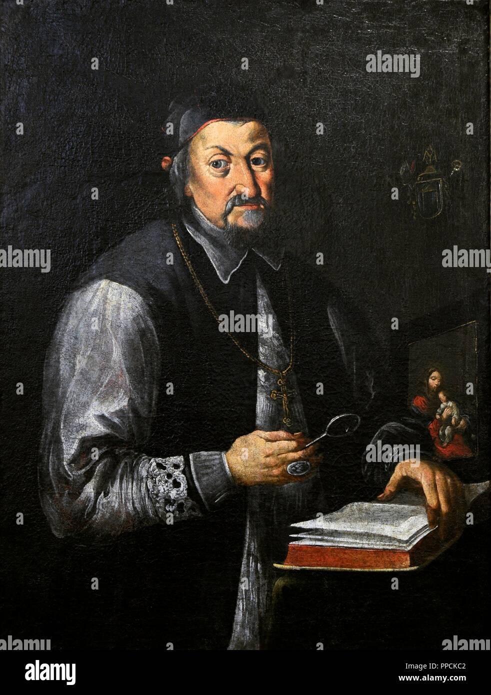 Portrait of Mikolaj Slupski (1616-1693). Bishop, the Suffragan of Byelorussia. By painter Johann Schretter (min. 1641-1685).Vilnius Picture Gallery. Lithuania. - Stock Image