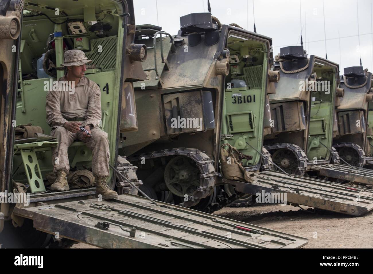U S Marine Corps Cpl Egon Yancick An Amphibious Assault Vehicle
