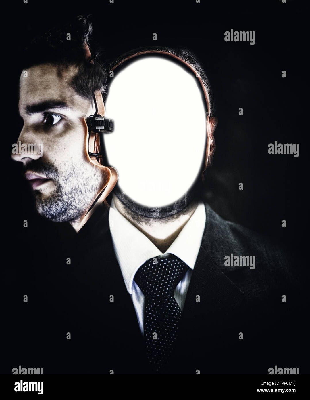 cyborg face with internal blank board - Stock Image