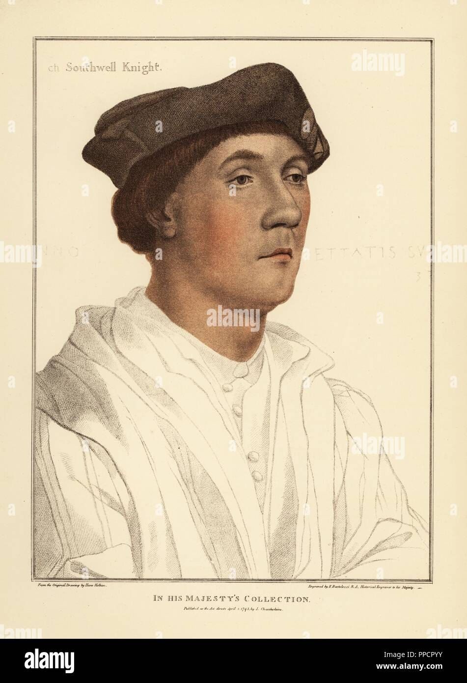 Sir Richard Southwell (c.1502- 1564), English Privy Councillor. Handcoloured copperplate engraving by Francis Bartolozzi after Hans Holbein from Facsimiles of Original Drawings by Hans Holbein, Hamilton, Adams, London, 1884. - Stock Image