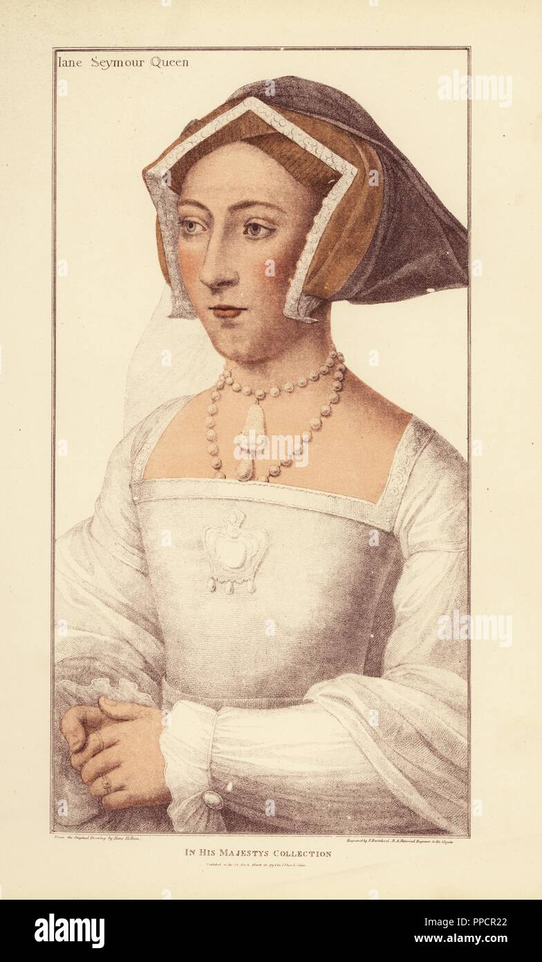 Jane Seymour, Queen of England, wife of King Henry VIII, daughter of Sir John Seymour, mother of King Edward VI. Handcoloured copperplate engraving by Francis Bartolozzi after Hans Holbein from Facsimiles of Original Drawings by Hans Holbein, Hamilton, Adams, London, 1884. - Stock Image