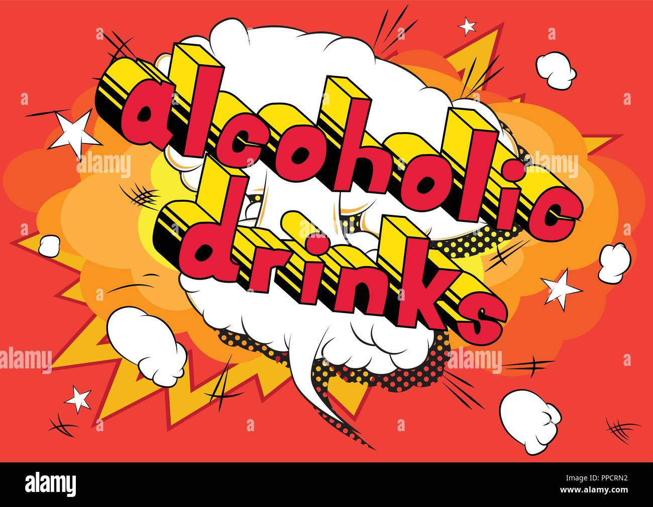 Alcoholic drinks - Vector illustrated comic book style phrase. Stock Vector