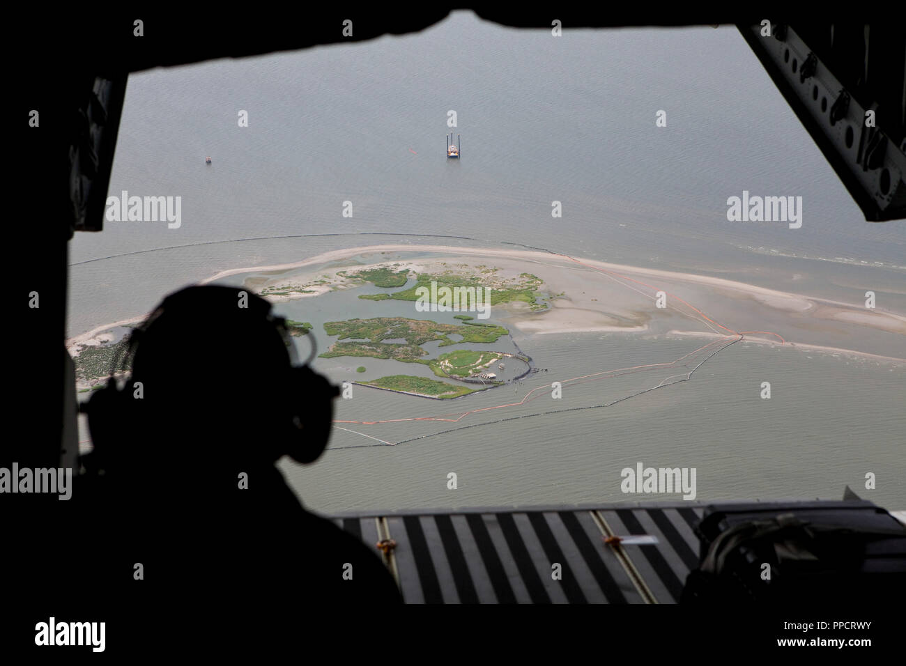 National Guard plane surveys oil spill damage in Gulf of Mexico, Louisiana, USA - Stock Image