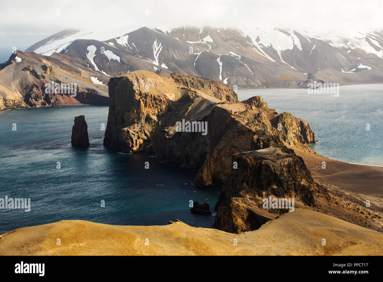 Deception Island in the South Shetland Islands off the Antarctic Peninsula is an active volcanic caldera. Stock Photo