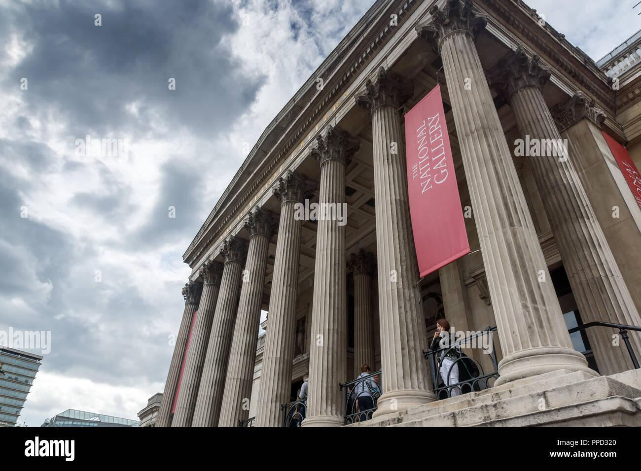 LONDON, ENGLAND - JUNE 16 2016: The National Gallery on Trafalgar Square, London, England, United Kingdom Stock Photo