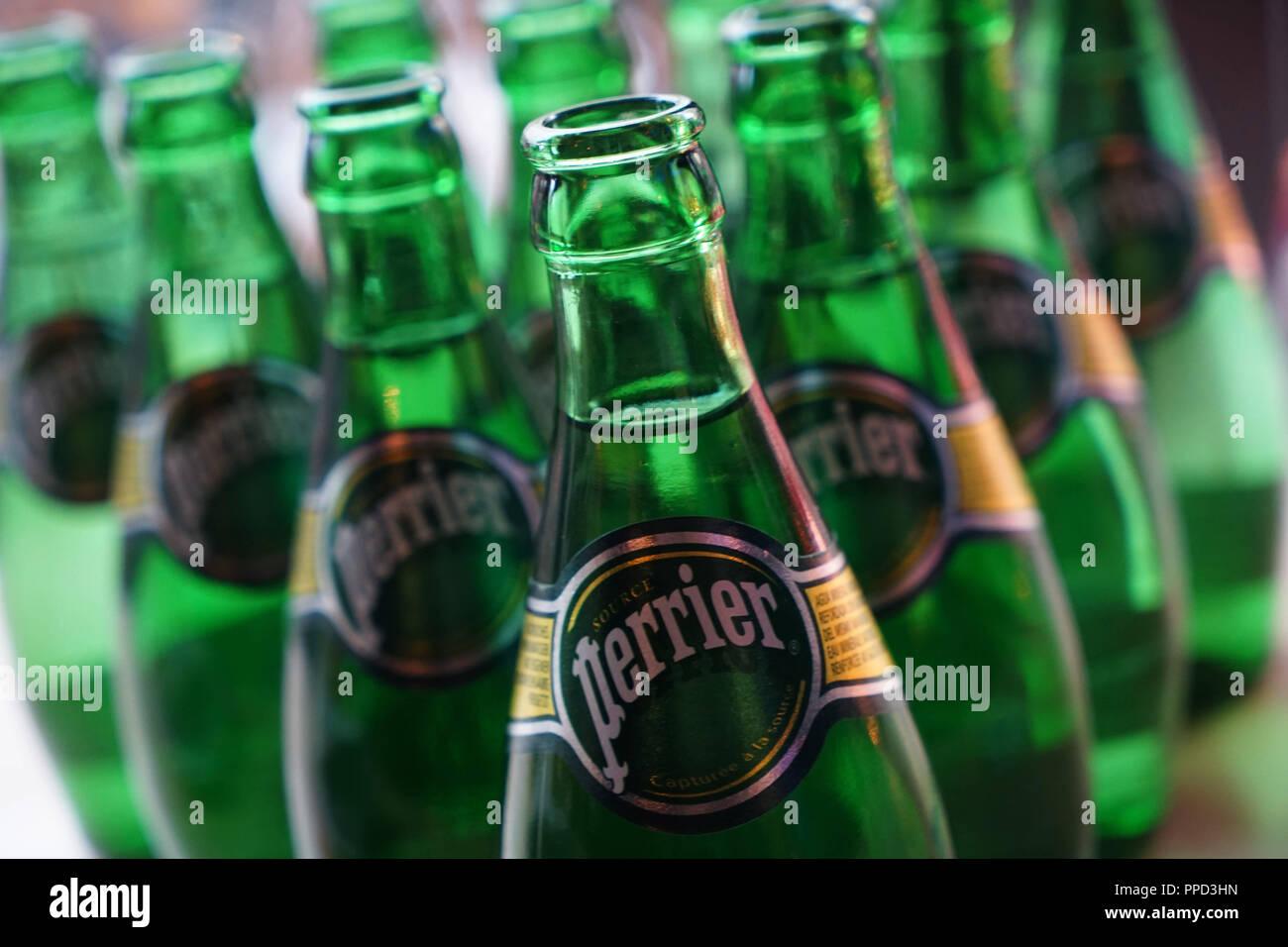 Munich, 04.12.2016 / Photo: Robert Haas. Mineral water bottles of the brand 'Perrier' in the 'Brasserie Bleue' in the Feinkost Kaefer Stammhaus in Prinzregentenstrasse. - Stock Image