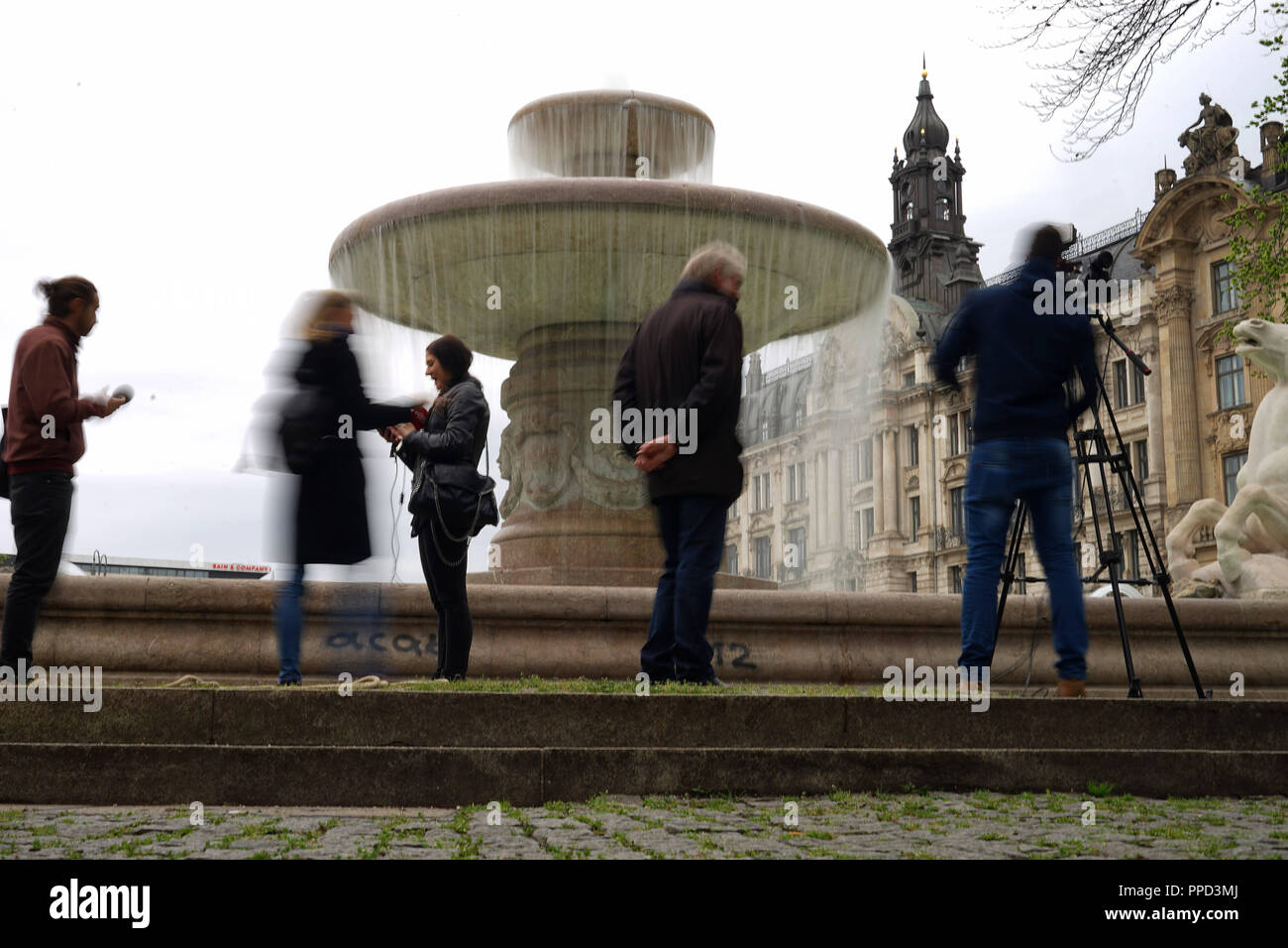 Opening of the Munich fountain season 2016: the picture shows the Wittelsbach Fountain, erected in 1895 by Adolf von Hildebrand at Lenbachplatz that was put into operation after the winter break. - Stock Image