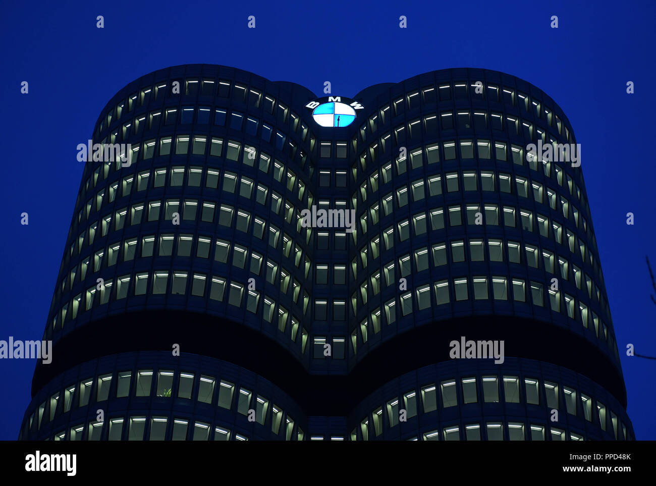 "The ""Four-cylinder"" at the Petuelring in the north of Munich, the main administration building and the company headquarters of the car manufacturer BMW. Stock Photo"