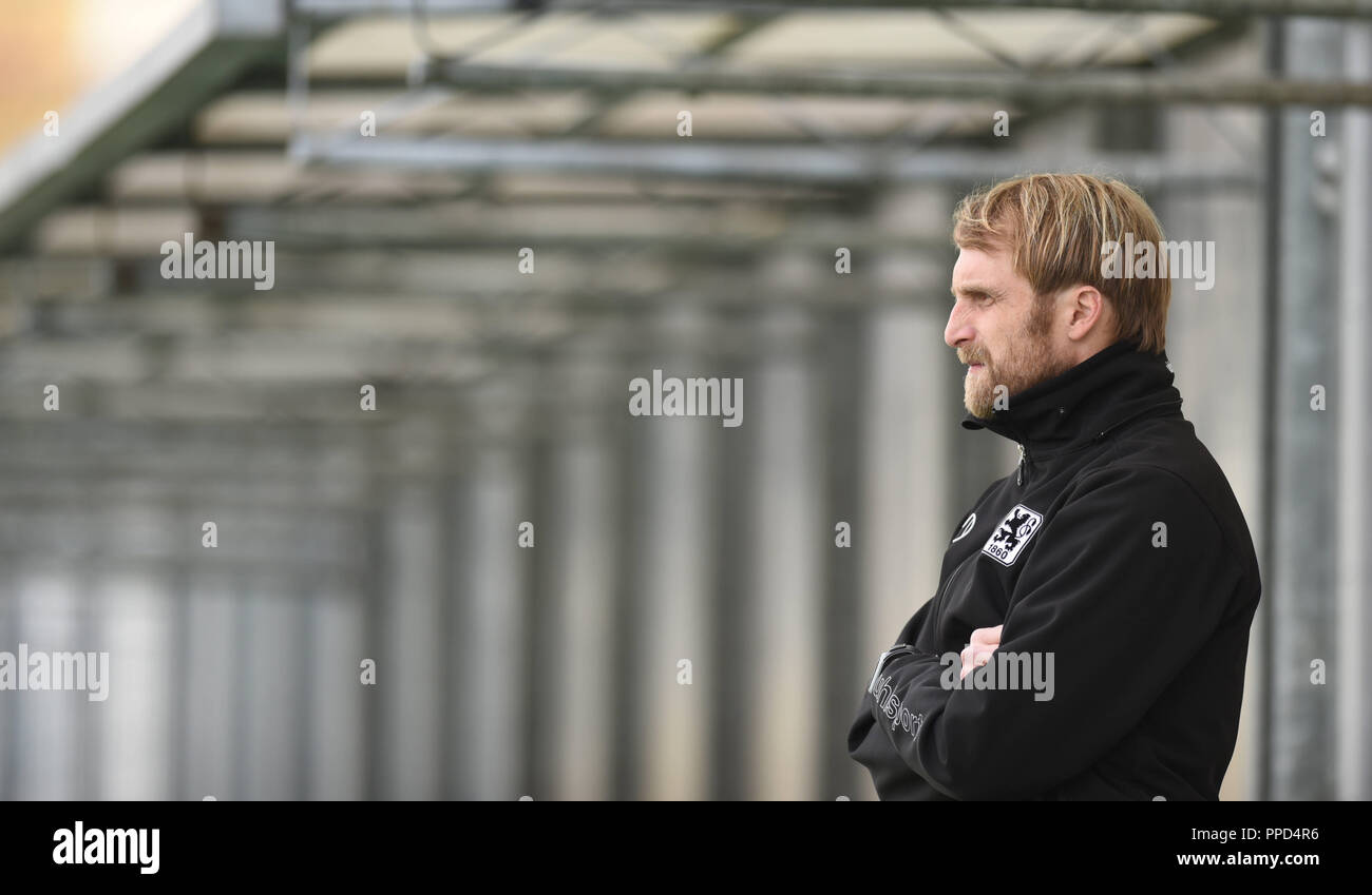 Lion coach Daniel Bierofka at the regional league match between TSV 1860 Munich II - SV Schalding-Heining in the municipal stadium at Gruenwalder Strasse. - Stock Image