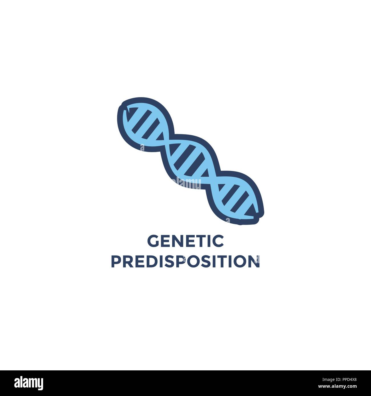 BMI - Body Mass Index Icon - DNA strand for Genetic Disposition - green and blue - Stock Image